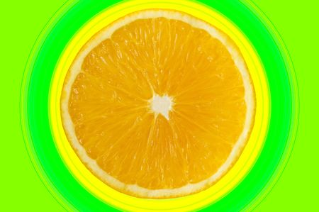 Half an orange with a concentric circles background Stock Photo - 3368095