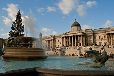 fount: The National Gallery , Trafalgar Square and the Christmas Tree in London
