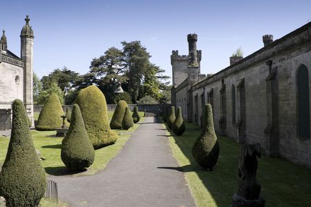Gothic ruins of a palace in the british countryside photo