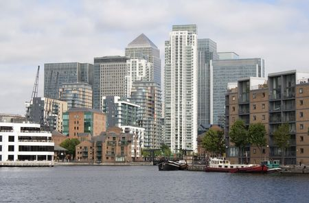 A view of Canary Wharf from the Isle of Dogs canals photo