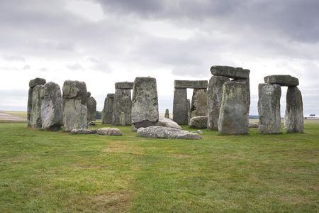 A view of the Stonehenge megalithic monument in Salisbury, England photo