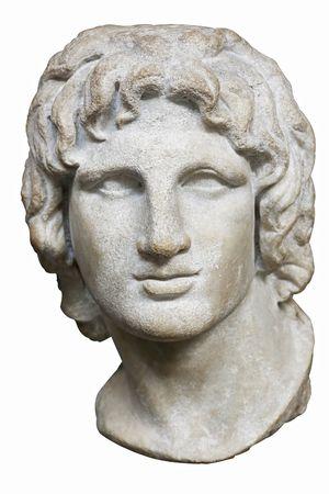 statue grecque: Buste d'Alexandre le Grand en marbre blanc isol� sur blanc Banque d'images