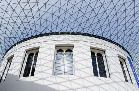 View of the Great Courtand its glass ceiling in the British Museum in London photo