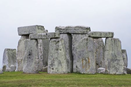 A view of the ancient Stonehenge circle of stones in England photo