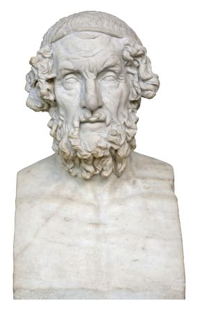 antiquity: White marble bust of the greek poet Homer isolated on white