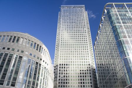 Canary Wharf skyscrapers in London in a clear day