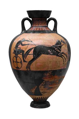 antique vase: Ancient greek vasedepicting a chariot isolated on white