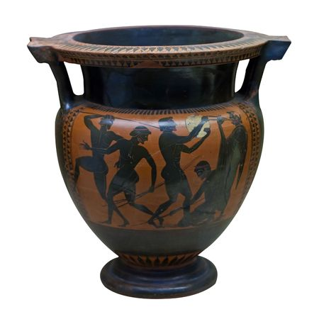 greek pottery: Ancient greek vase in black over red ceramic depicting people with spears and a musician