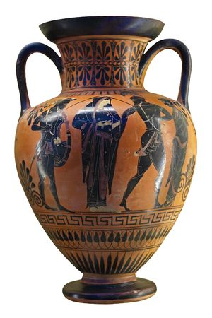greek pot: Vaso greco antico in nero su ceramica rosso raffigurante warriosr e una donna o la dea