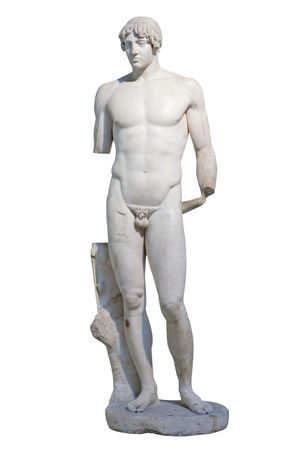 naked statue: Ancient white marble statue of a standing young man Stock Photo