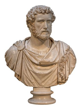 pius: Marble bust of the roman emperor Antoninus Pius isolated on white Stock Photo