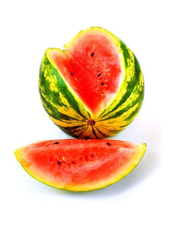 Colorful ripe sliced watermelon in a white background photo