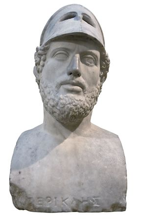 Bust of the greek statesman Pericles isolated on white with clipping path photo