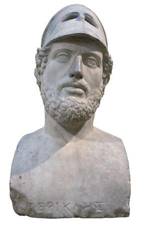 statesman: Busto dello statista greco che Pericles isolated on white con tracciato di ritaglio