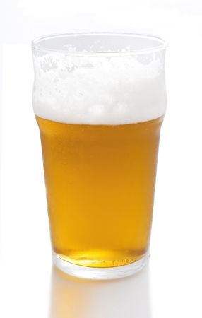 A pint of beer on a white background with reflections Stock Photo - 6073923
