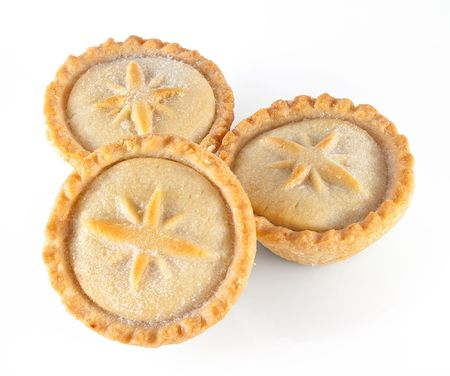 apple tart: Three Christmas mince pies on a white background