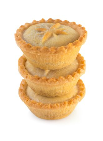 minced pie: Three Christmas mince pies on a white background