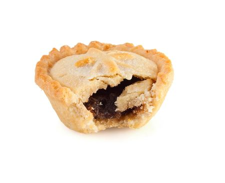 mincing: Christmas mince pie with a bite mark on a white background