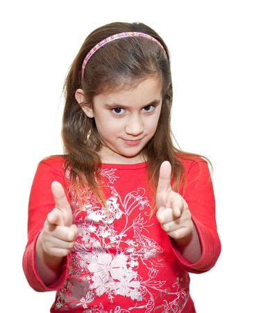 Small girl making the OK sign isolated on white photo