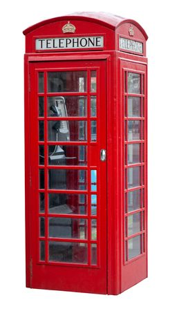 old english: Red telephone booth in London