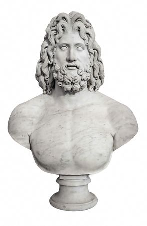 greek gods: Ancient statue of the Greek god Zeus isolated on white Stock Photo