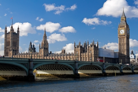 The Big Ben , the Houses of Parliament and Westminster Bridge in London on a beautiful day