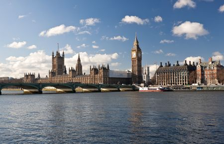 The Big Ben , the Houses of Parliament and Westminster Bridge in London on a beautiful day photo