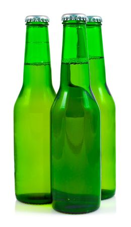 Three green beer bottles in a white background photo