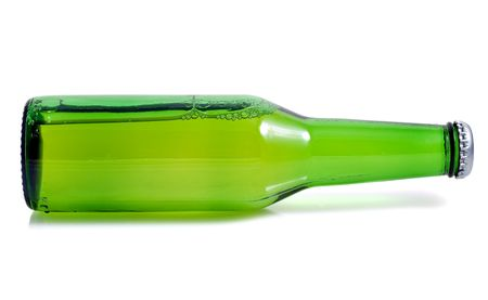 horizontal position: Green beer bottle in a horizontal position on a white background