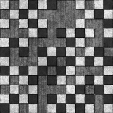 Seamless tiles texture with missing tiles in black and white photo