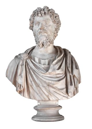 severus: Ancient marble bust of the roman emperor Septimius Severus isolated on white with clipping path Stock Photo