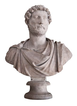 hadrian: Ancient marble bust of the roman emperor Hadrian isolated on white with clipping path Stock Photo