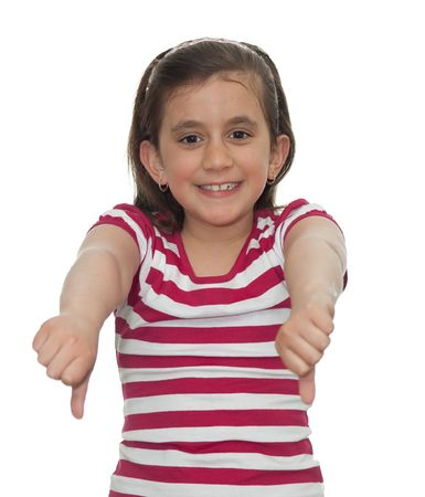 Young girl showing thumbs down isolated on white photo