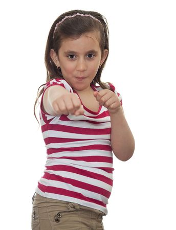 karate female: Young girl smiling in a boxing position on a white background