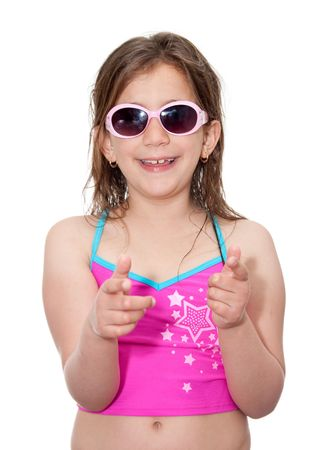 Smiling girl with swimming suit and sunglasses on a white background photo