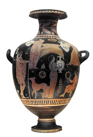 greek pot: Vaso greco antico, isolata on white  Archivio Fotografico