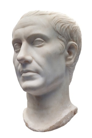 italian politics: Marble bust of Julius Caesar isolated on white Stock Photo
