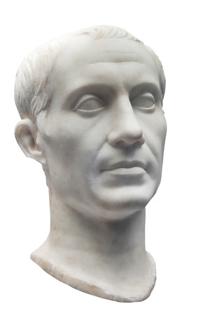 murdered: Marble bust of Julius Caesar isolated on white Stock Photo