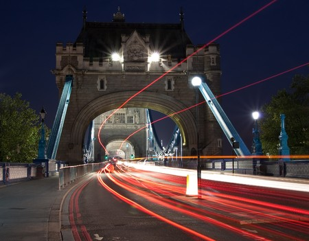 Night scene with traffic light trails in the Tower Bridge in London Stock Photo - 6995324