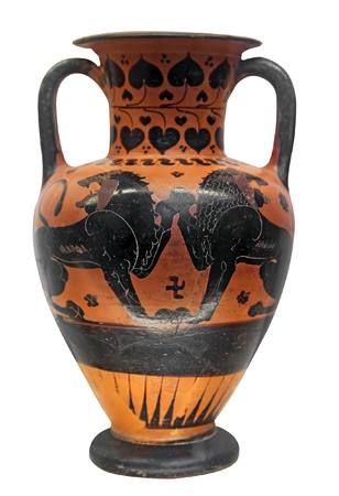 Ancient greek vase with two lions photo