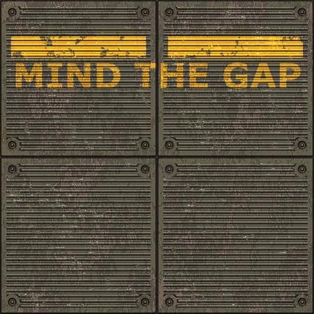 Illustration of the London underground Mind The Gap typical sign illustration