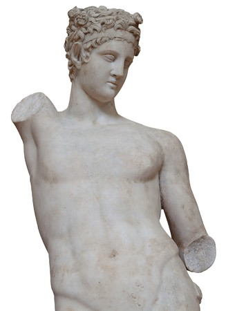 Isolated white marble statue of an armless young man photo