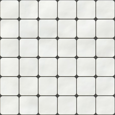 Seamless texture made of white square tiles with round corners photo