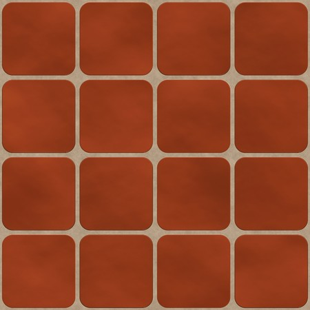 Seamless texture made of red (brick like) square tiles with round corners  photo