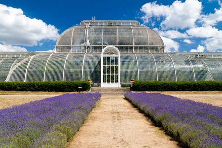 conservatory: Greenhouse at Kew Gardens in London on a beautiful summer day Stock Photo