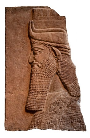babylonian: Isolated relief of an ancient assyrian king