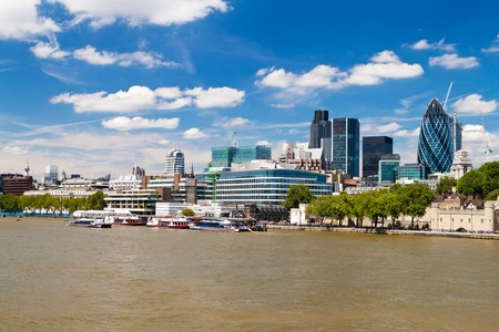 gherkin: The City of London skyline in a clear summer day Stock Photo