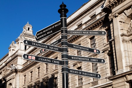 streets of london: Sign with directions to Londons landmarks Stock Photo