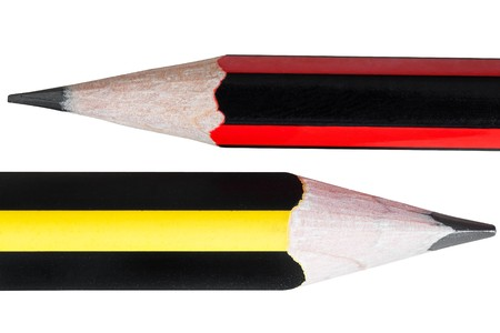 Close up of two pencils isolated on white photo