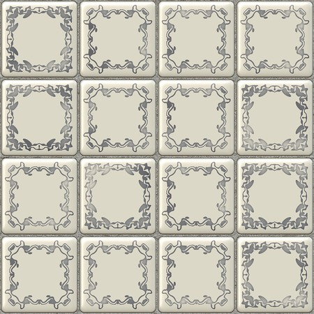 mosaic floor: Seamless white tiles texture with geometric decoration Stock Photo